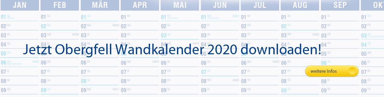 Druckvorlage Wandkalender 2020